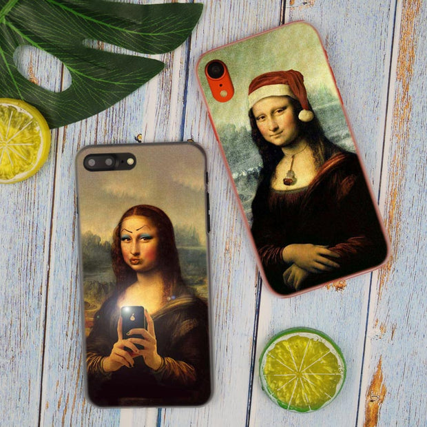 Mona Lisa Funny Spoof Hot Fashion Transparent Hard Phone Cover Case For IPhone X XS Max XR 8 7 6 6s Plus 5 SE 5C 4 4S