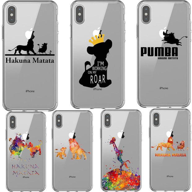 Moonlight Lion King Hakuna Matata Print Soft TPU Silicone Back Cover Phone Case For IPhone X 5 5S SE 6 6SPlus 7 8 Plus XS MAX XR