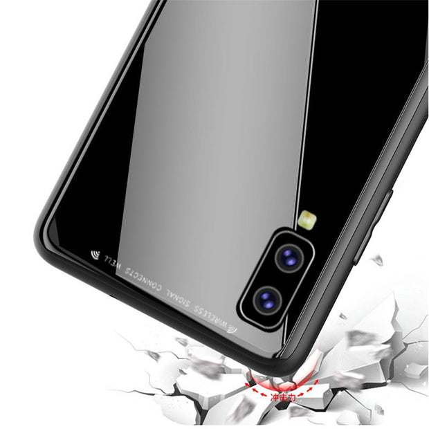 NFH Tempered Glass Phone Case For Samsung Galaxy A7 2018 Case For Samsung A7 2018 A750 A750F Luxury Slim Back Cover