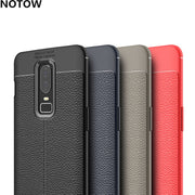 NOTOW Luxury Matte Frosted Soft TPU Litchi Dermatoglyph Leather Texture Anti-Skid Cover Case For Oneplus 3 3t /5 5t/6 6T