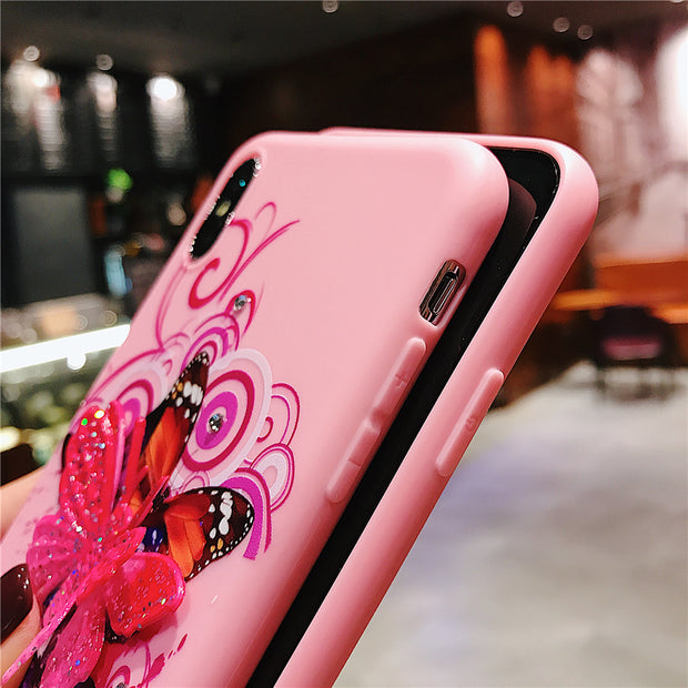 NTSPACE Soft Silicone Phone Case For IPhone X Xs Max XR Lovley Cartoon Butterfly Back Cover For IPhone 7 8 Plus 6 6s Plus Case
