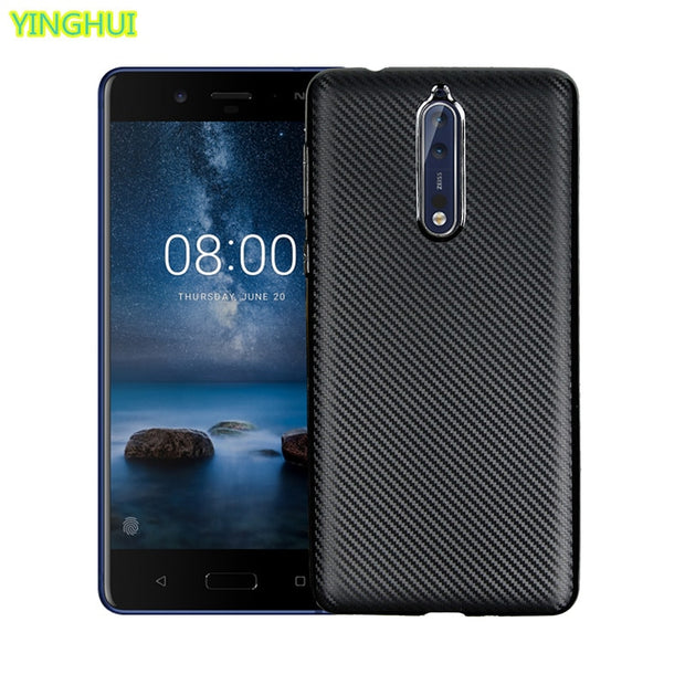 New 2017 For Nokia 8 Carbon Fiber Soft Shell For Nokia 8 Case Silicone Gel Soft Protective Back Cover For Nokia 8