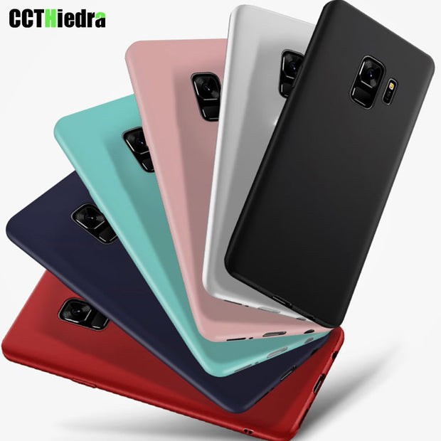 New Candy Color Silicone Phone Case Cover For Samsung Galaxy S7 S8 S9 Plus S6 Edge A3 A5 A7 Note8 Matte Phone Shell