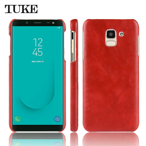 New Case Luxury Slim Hard Plastic Phone Case For Samsung J6 2018 Protection Litchi Pattern PU Leather Cover For Samsung J6 2018