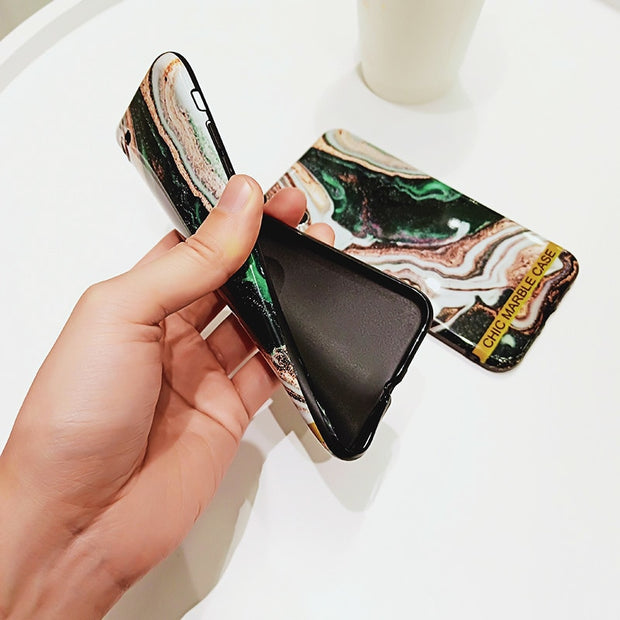 New Chic Marble Case For IPhone X XS Max XR Glossy Soft Silicon Cover Fundas For IPhone 8 7 6 6S Plus Capa Hoesje For Girls