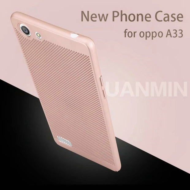New Fashion 360 Full Protective Hard PC Phone Case For OPPO Neo 7 A33 A33T 5.0inch Grid Heat Dissipation Back Cover Shell