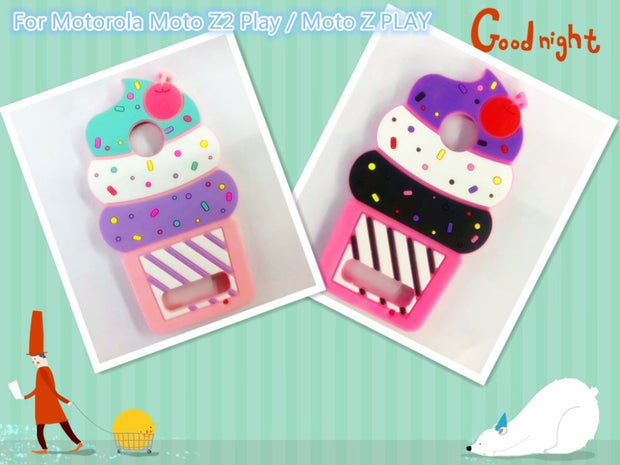 "New Hot On For Motorola MOTO Z2 Play Case 5.5 "" 3D Cherry Ice Cream Cartoon Coque Soft Silicone Phone Cover For Moto Z Play Case"