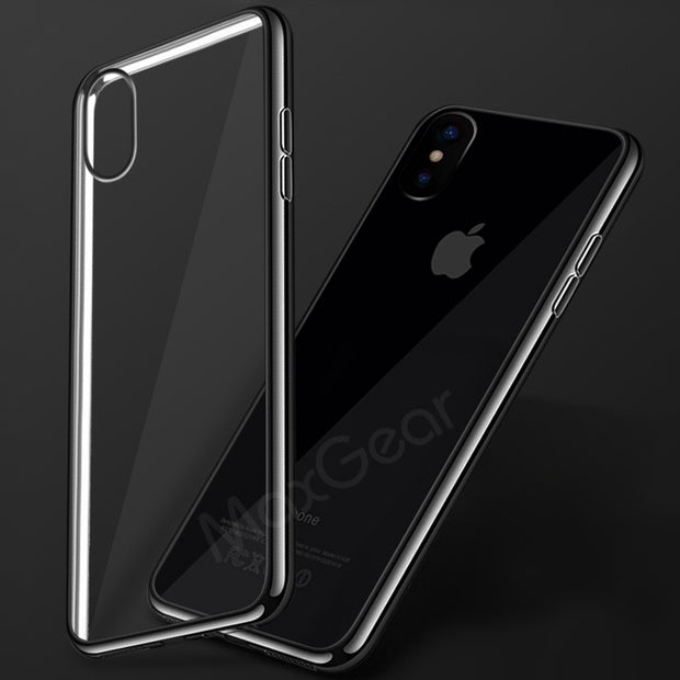 New Luxury Ultra Thin Soft TPU Case For Apple IPhone X Crystal Clear Frame Plating Cover For IPhoneX Coque