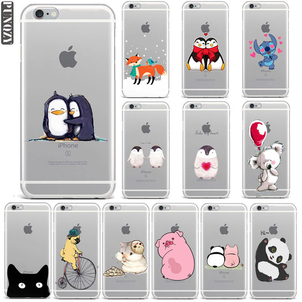 New Year Christmas Gifts Fox Owl Stitch Panda Penguin Phone Case For IPhone 7 6S 8 Plus 4S 5S SE X Winter Animal Soft TPU Cover