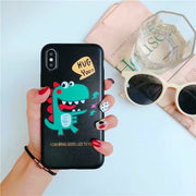 Newest Fashion Cartoon Freehand Dinosaur Soft TPU Case For Iphone 6 6S Plus 7 8 Plus X Back Cover Case & Bag
