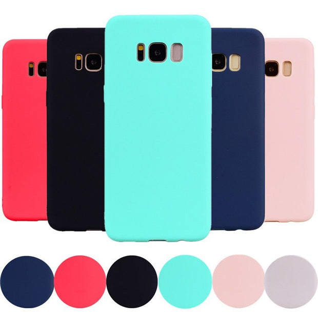 Note9 Soft Silicone Case For Samsung Galaxy S7 Edge Note 9 Candy Color Back Cover For Samsung Galaxy S8 Plus Note 8 Case Fundas