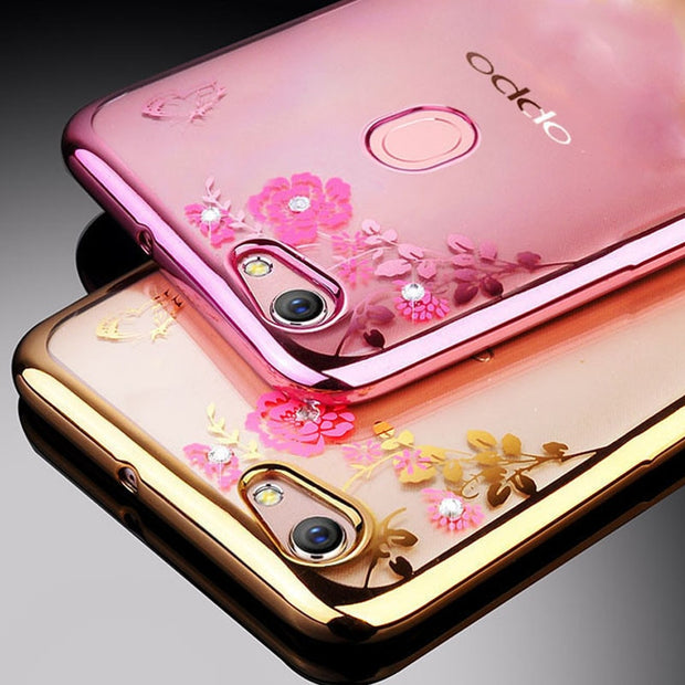 OPPO F1S F5 F7 Phone Case Glitter Flower Bling Silicone Diamond Bumper Cover For OPPO F1 Plus A59 A77 A73 A3Back Coque R9s