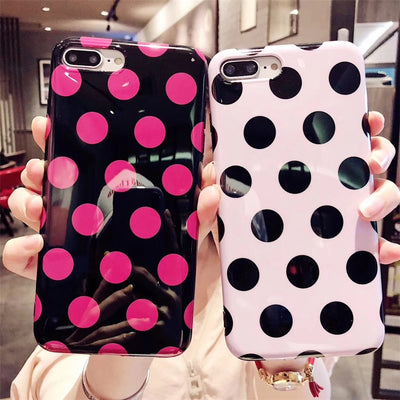 Okdeals Case For Iphone 8 Plus Candy Cover For Iphone 7 7 Plus Glitter For Iphone 6s Case Soft Cute Dots For Iphone X Back Cover