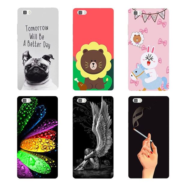 Original Cover For Huawei Ascend P8 Lite 2015 Fashion Print Lovely Leaves Colors Flower Bear Hard Plastic Phone Cover Coque