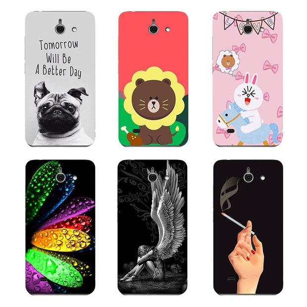 Original Cover For Huawei Ascend Y550 Fashion Print Lovely Leaves Colors Flower Angel Bear Hard Plastic Phone Cover Coque