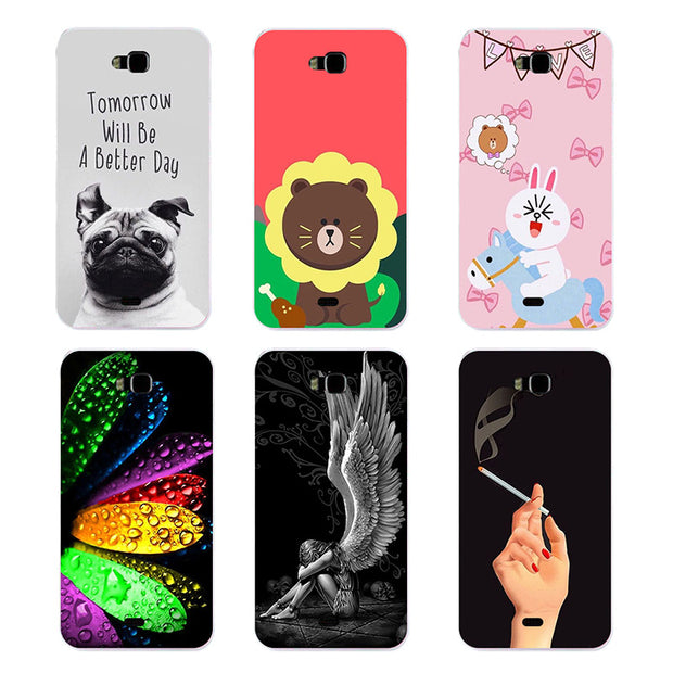 Original Cover For Huawei Honor Bee Y5c Y541 Y541-u02 Fashion Print Lovely Leaves Bear Soft TPU Silicone Phone Cover Coque