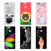 Original Cover For Huawei P9 P9 Fashion Print Lovely Leaves Bear Soft TPU Silicone Phone Cover Coque Smartphone For Huawei P9 P9