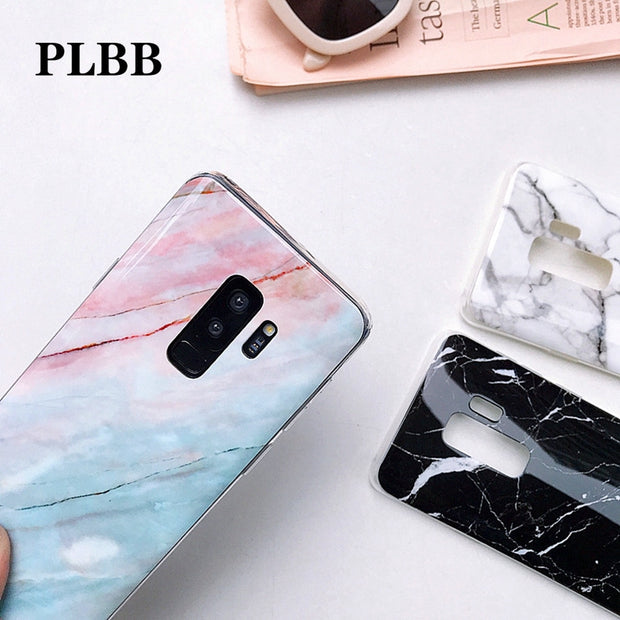 PLBB Luxury Soft TPU Glossy Marble Stones Phone Coque Cases For Samsung Galaxy S7 S7 Edge S8 S9 Plus Note 8 Note 9 Capa Cover