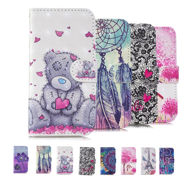 PU Leather Cases SFor Samsung Galaxy J5 2017 Lovely Pattern Cover For Samsung J5 2017 J530F J530 Flip Bracket Wallet Phone Case