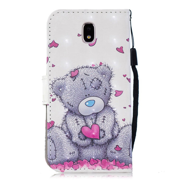 PU Leather Cases SFor Samsung Galaxy J7 2017 Lovely Pattern Cover For Samsung J7 2017 J730 EU Flip Bracket Wallet Phone Case