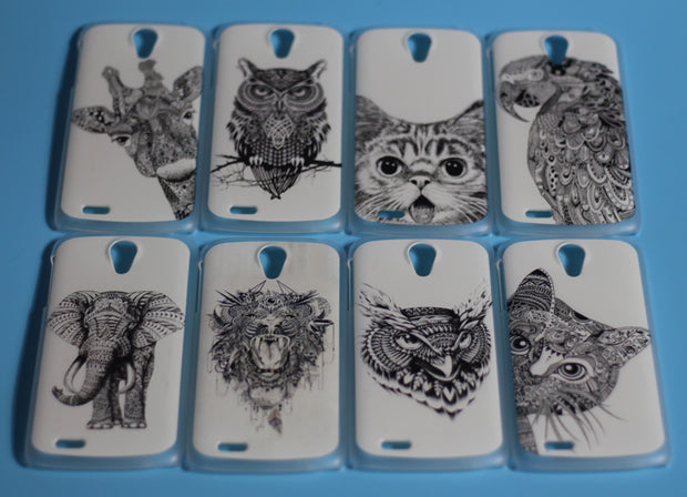 Painting Colored Cellphone Cases Covers For Lenovo S820 Hard Cover S 820 Hood Shell Bags White And Black Animals Design Case