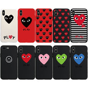 Paris Style CDG COMME Des GARCON Heart Soft Case For IPhone 7 7Plus 8 8Plus X Xs XR Xs Max 5s 5 SE 6s 6 6Plus 6sPlus Phone Cover