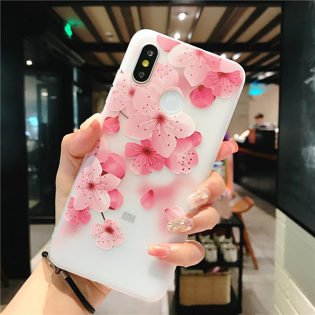 Petal Patterned Case For Xiaomi Mi 6 8 5X 6X A1 A2 MIX2 Soft Silicone Relief Cases Cover For Xiaomi Redmi Note 5 5A Pro 4X Capa