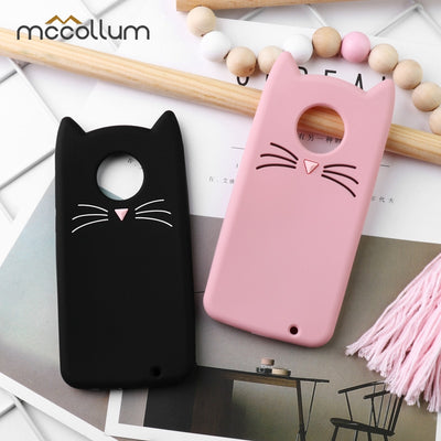 Phone 3D Silicone Case For Motorola Moto G6 G5S G5 C Play E4 Plus Cute Beard Cat Ears Cartoon Cases Protective Covers