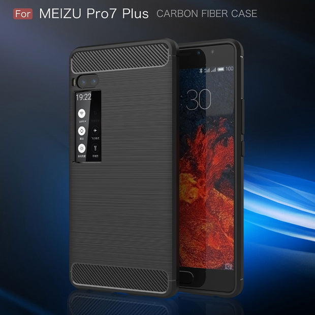 Phone Case For Meizu Pro 7 Luxury Shockproof Brushed Soft Silicone Back Cover Case For Meizu Pro 7 Plus 7+ Full Protective Shell