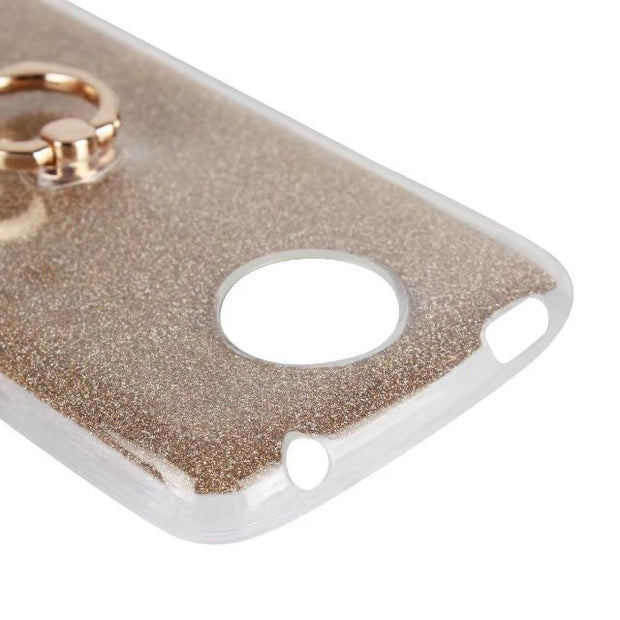 Phone Case For Motorola Moto C Plus Case 5.0inch Glitter Bling Case Cover With Ring Holder Soft TPU Coque For Moto CPlus