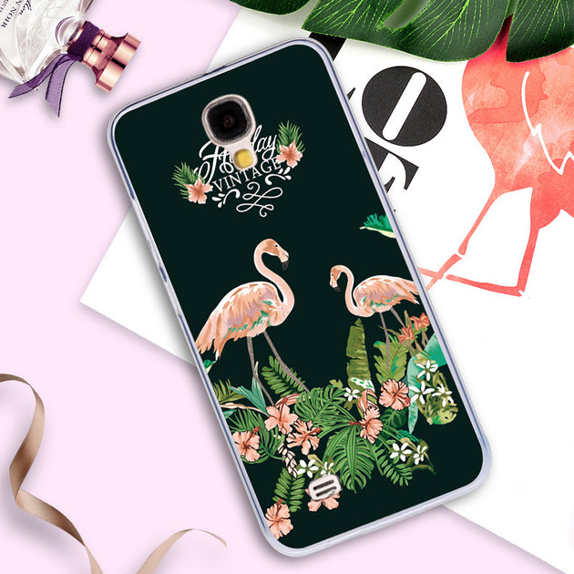 Phone Case For Samsung Galaxy S4 I9500 GT-i9500 GT-i9505 I9505 I9506 Back  Cover Silicone Painted Animal Flamingo Cases S4