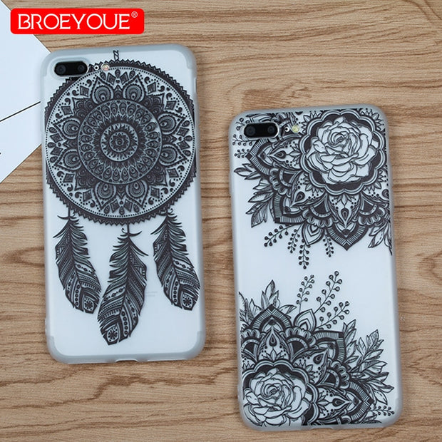 Phone Case For IPhone 7 8 Plus Soft TPU Silicone Case Retro Lace Flowers Cover For IPhone 5 5S SE 6 6S Plus X Transparent Cases