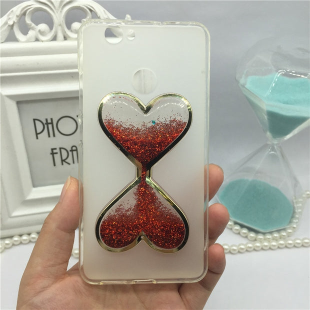 Phone Case For Huawei Ascend G9 / P9 Lite / P9 Mini Bling Glitter Liquid Quicksand Cases Cover Capa Wine Glass Hourglass Perfume