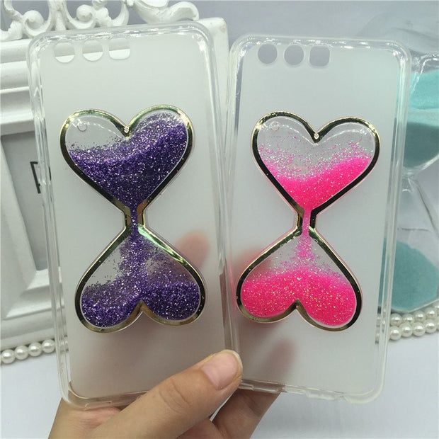 Phone Case For Huawei Ascend P10 Bling Glitter Liquid Quicksand Cases For Huawei P10 Cover Capa Wine Glass Hourglass Perfume