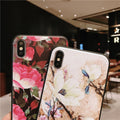 Phone Case For IPhone XSMax X XR XS Flowers Floral Relief Matte Soft TPU Cover Case For IPhone 6 6S 7 8 Plus Back Fundas