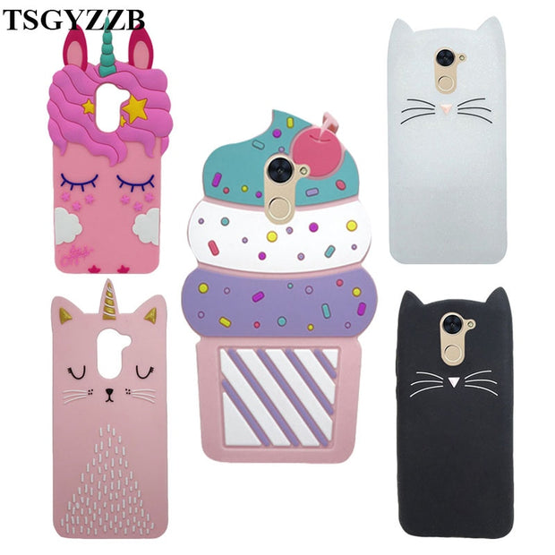 Phone Cases For Huawei Enjoy 7 Plus Huawei Y7 Prime Case Soft Silicone 3D  Unicorn Cat Back Cover For Huawei Y7 Prime 2017 Fundas