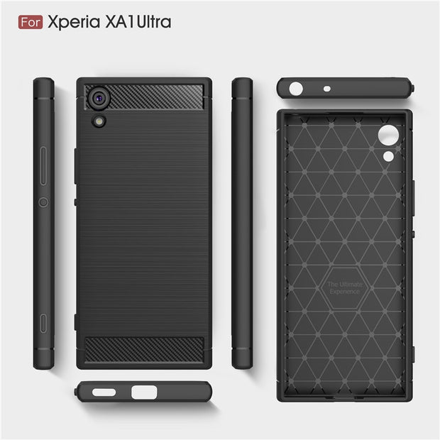 Phone Cases For Sony Xperia XA1 Ultra Case 6.0'' Luxury Carbon Fiber Anti-drop TPU Soft Cover For Sony XA1 Ultra Back Cover