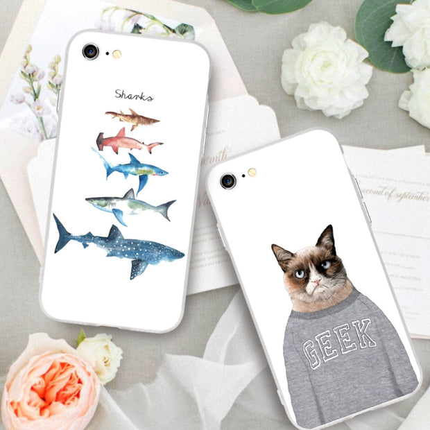 buy popular 1f56a f45db Phone Cases For IPhone 7 7 Plus Cute Animals Mr.cat Shark Fishes Shell Back  Case Cover For Iphone 6 6s Plus With Free Straps