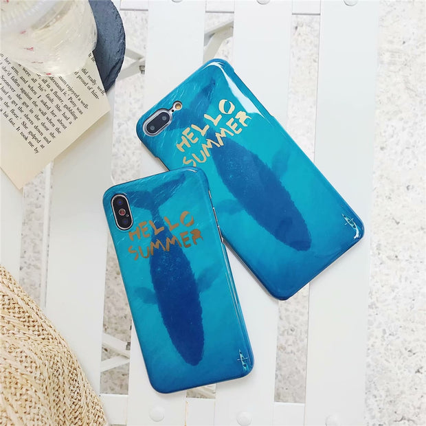 Phone Case For IPhone 6 Plus Hot Simple Summer Blue Ocean Blue Whale Moon River Pattern Case For IPhone 6S Plastic Hard PC Cover
