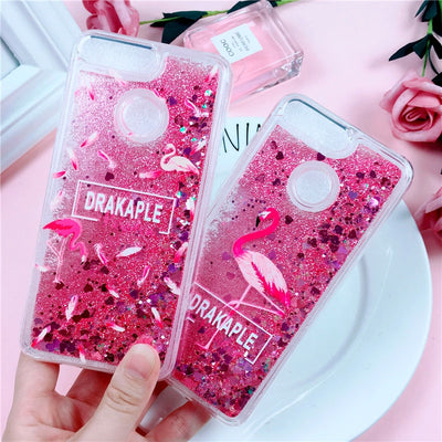 Pink Glitter Case On For Huawei P Smart Case Coque For Huawei Enjoy 7S 6S 5S 7 8 Plus Cover Liquid Quicksand Soft TPU Phone Case