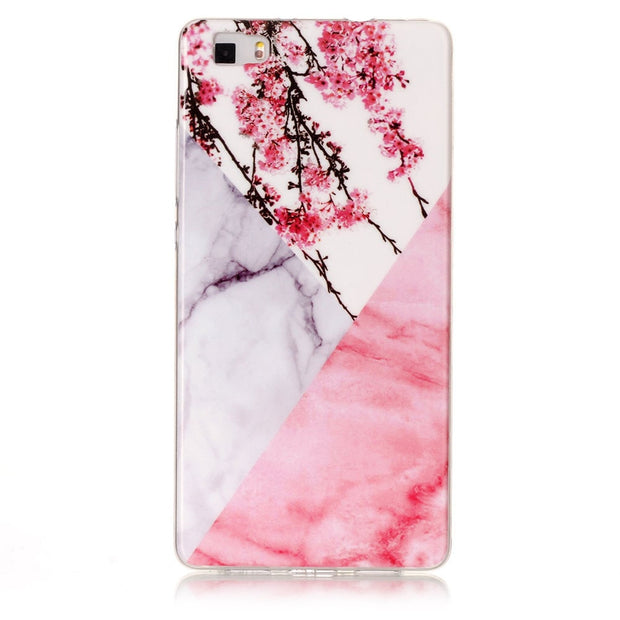 Pink Marble Soft Case For Huawei P8 Lite Star Silicone Back Phone Shell For Huawei P8 Lite Cover Plum Flower Stone Capa Women