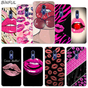 Pink Sexy Lips Clear Cover Case For Xiaomi Redmi 3 3S 6 Pro S2 4A 4X 5A 6A 5 Plus Note 5A Note 2 3 4 4X 5 6 Pro Mi 5X