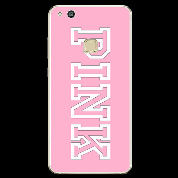 Pink Black Letters Cover Case For Huawei P8 P9 P10 Lite 2017 For IPhone X 4 4S 5 5S SE 5C 6 6S 7 Plus 8