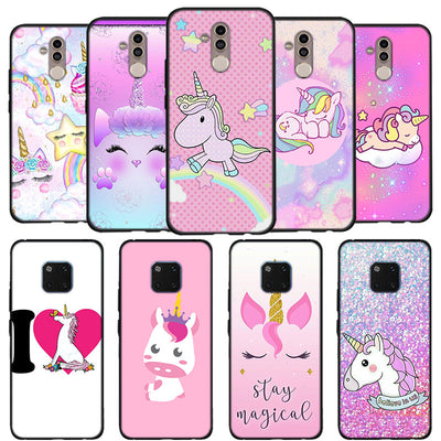 Pink Unicorn Kawaii Unicorns Phone Case For Huawei Mate 10 20 Lite Mate 10 20 Pro P20 Lite Black Soft Silicone Coque Case