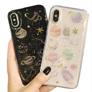 Planet Space Silicone Phone Case For IPhone 6 7 X Starry Sky Glitter Back Cover For IPhoneX 8 7 6 Plus 6s 7Plus 8Plus Case Coque