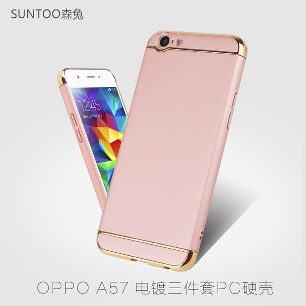 best sneakers 6fffc 30ceb Plastic Phone Case For OPPO F3Lite CPH1701 Plating Plain Cover For OPPO A57  2017 32GB Hard Cases Business Back Cover Protective
