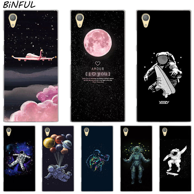Popular Space Aircraft Astronaut Cover Case For Sony Xperia Z3 Z5 Premium M4 Aqua M5 X XA XA1 C4 C5 E4 E5 XZ XZ2 Compact Plus
