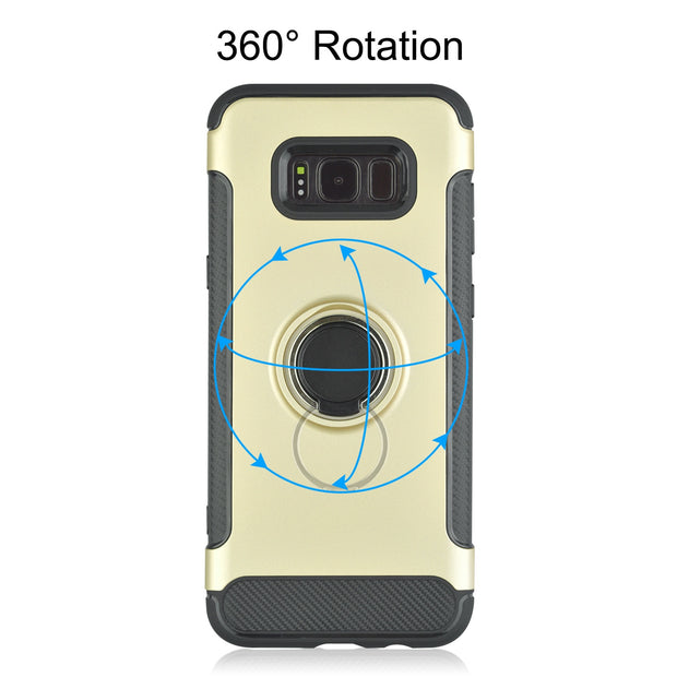 Powstro For Samsung Galaxy S8 S9 Plus Phone Back Cover 360 Rotatable Ring Holder Phone Protective Cover Phone Stand Phone Case