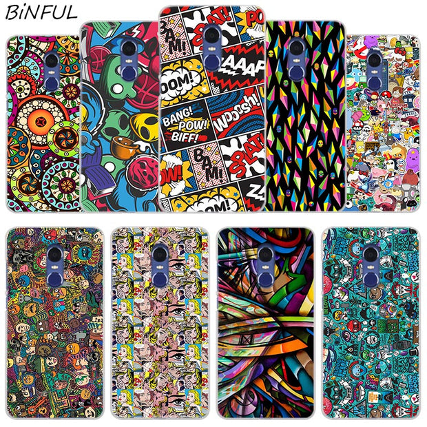 Psychedelic Pop Art Clear Cover Case For Xiaomi Redmi 3 3S 6 Pro S2 4A 4X 5A 6A 5 Plus Note 5A Note 2 3 4 4X 5 6 Pro Mi 5X