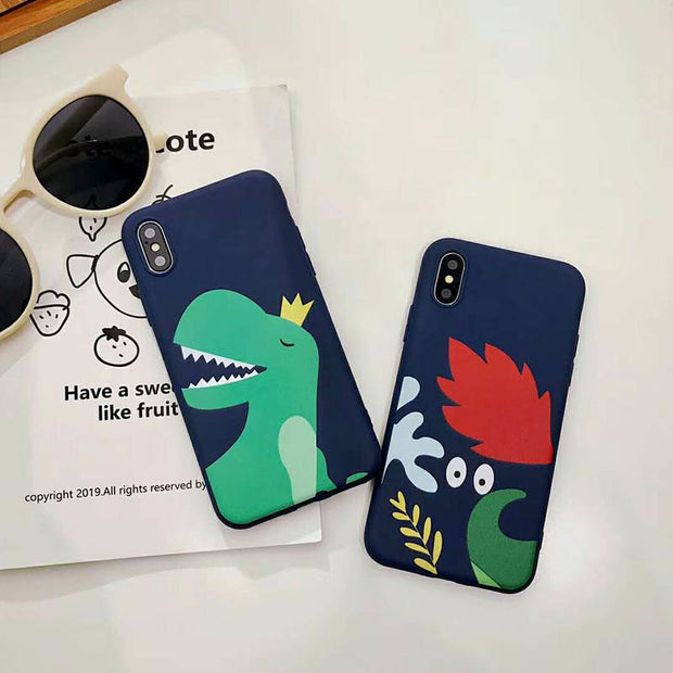 Pushingbest Cartoon Dinosaur Phone Case For Apple IPhone X Xs Xr Xs Max 6 7 8 Plus Phone Case Back Cover